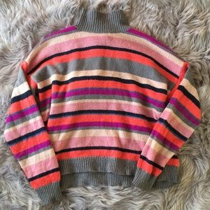 [Chaps Denim] Bright Stripe Mock neck sweater- XL